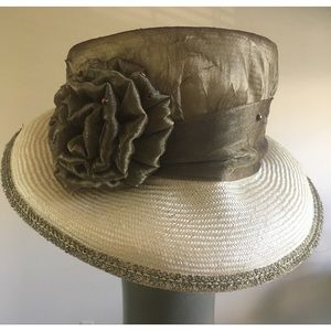 Cream Straw Hat with Gold Fabric Covered Dome